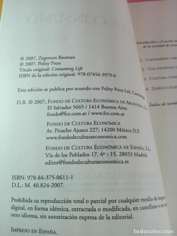 Libros de segunda mano: LIBRO-VIDA DE CONSUMO-ZYGMUNT BAUMAN-1ªEDICIÓN-2007-IMPOLUTO-VER FOTOS. - Foto 5 - 178863106