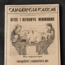 Libros de segunda mano: MENORCA: DITS I REFRANYS MENORQUINS- COLLECTIU FOLKLORE CIUTADELLA- JOAN PONS MOYA- 1984. Lote 160236638