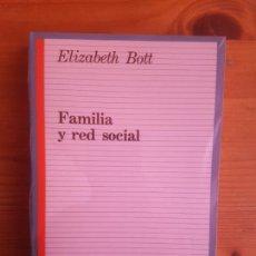 Libros de segunda mano: FAMILIA Y RED SOCIAL ELIZABETH BOTT PUBLICADO POR TAURUS, MADRID (1990) 411PP NUEVO. Lote 161862182