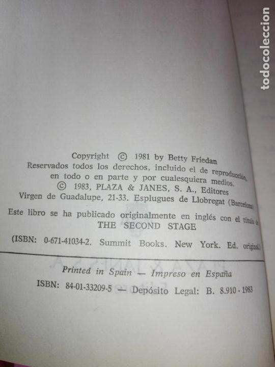 Libros de segunda mano: LIBRO-LA SEGUNDA FASE-BETTY FRIEDAN.PLAZA & JANÉS-1ªEDICIÓN-MARZO 1983-EXCELENTE ESTADO-VER FOTOS - Foto 6 - 165124950