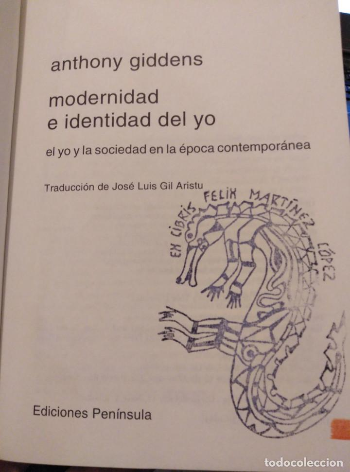 Libros de segunda mano: MODERNIDAD E IDENTIDAD DEL YO. ANTHONY GIDDENS - Foto 3 - 167047656