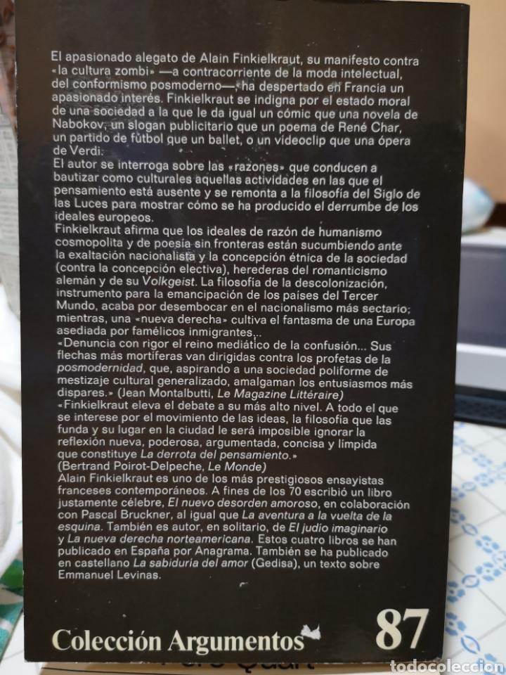 Libros de segunda mano: Alan Finkielkraut. La derrota del pensamento. Anagrama, t'as. Joaquín Jordá, Barcelona, 1987. - Foto 2 - 168123460
