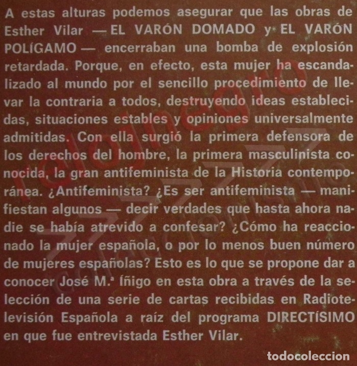 Libros de segunda mano: LA BOMBA ESTHER VILAR - LIBRO JOSÉ Mª ÍÑIGO - DEFENSORA DEL DERECHO DEL VARÓN - ¿ ANTI- HEMBRISTA ? - Foto 2 - 168261464