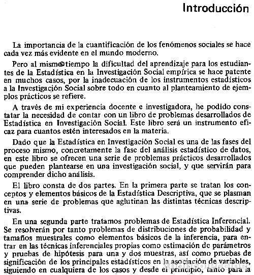 Libros de segunda mano: ESTADISTICA EN INVESTIGACION SOCIAL. EJERCICIOS RESUELTOS. JOSE MATEO RIVAS. PARANINFO. SOCIOLOGIA. - Foto 2 - 169377000