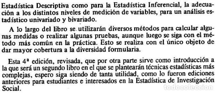 Libros de segunda mano: ESTADISTICA EN INVESTIGACION SOCIAL. EJERCICIOS RESUELTOS. JOSE MATEO RIVAS. PARANINFO. SOCIOLOGIA. - Foto 3 - 169377000