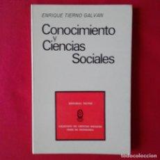 Libros de segunda mano: CONOCIMIENTO Y CIENCIAS SOCIALES. ENRIQUE TIERNO GALVAN. TECNOS 1973. Lote 169908624
