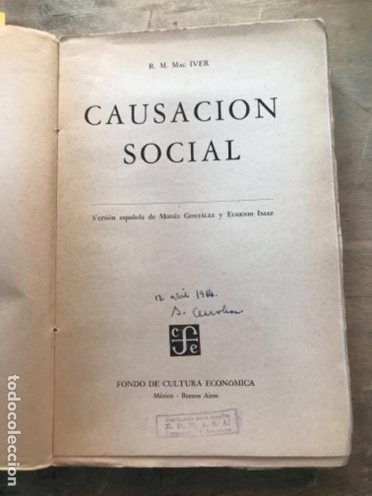 Libros de segunda mano: CAUSACIÓN SOCIAL. R. MAC IVER. - Foto 2 - 171488694