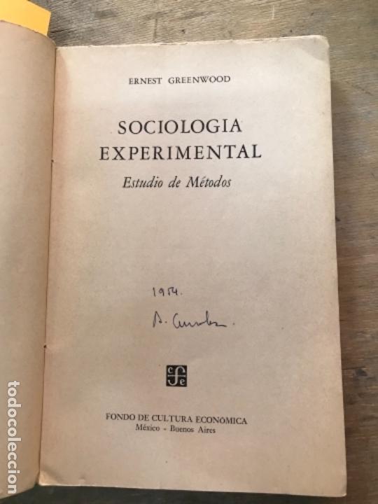 Libros de segunda mano: SOCIOLOGÍA EXPERIMENTAL.ESTUDIO DE MÉTODOS. ERNEST GRENWOOD. - Foto 2 - 171489269