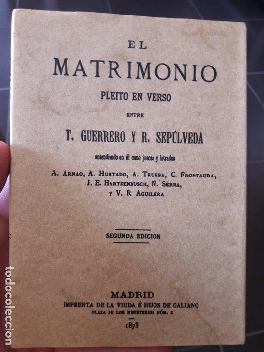 EL MATRIMONIO, PLEITO EN VERSO. FACSÍMIL GUERRERO, TEODORO SEPÚLVEDA, RICARDO, ED. MAXTOR (Libros de Segunda Mano - Pensamiento - Sociología)