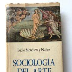 Libros de segunda mano: SOCIOLOGIA DEL ARTE. LUCIO MENDIETA Y NÚÑEZ. Lote 175279818