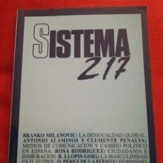 Libros de segunda mano: SISTEMA. REVISTA DE CIENCIAS SOCIALES (JULIO DE 2010 - Nº 217). Lote 175597862