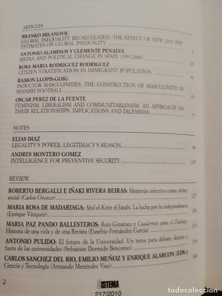 Libros de segunda mano: SISTEMA. REVISTA DE CIENCIAS SOCIALES (JULIO DE 2010 - Nº 217) - Foto 3 - 175597862
