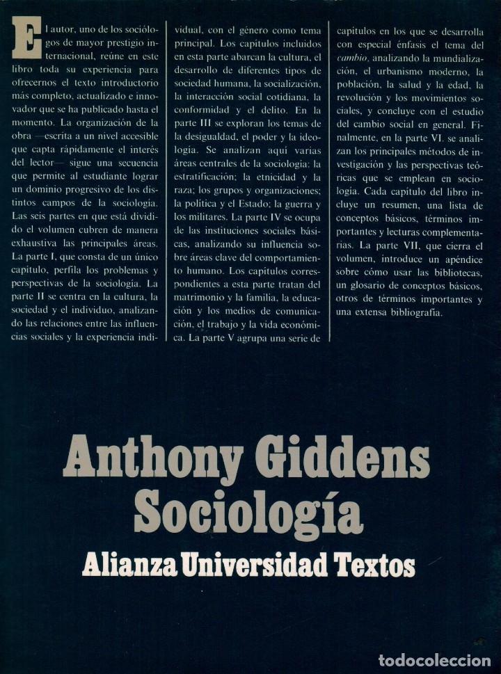 SOCIOLOGÍA / ANTHONY GIDDENS (Libros de Segunda Mano - Pensamiento - Sociología)
