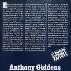 Libros de segunda mano: SOCIOLOGÍA (2ª EDICIÓN REVISADA Y AMPLIADA) - ANTHONY GIDDENS - ALIANZA EDITORIAL - ALIANZA UNIVERSI. Lote 178706760