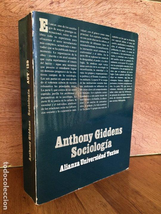 SOCIOLOGIA - ANTHONY GIDDENS - ALIANZA UNIVERSIDAD TEXTOS (Libros de Segunda Mano - Pensamiento - Sociología)