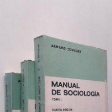 Libros de segunda mano: MANUAL DE SOCIOLOGÍA. 3 VOLS. - ARMAND CUVILLIER. Lote 188593461