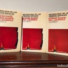 Libros de segunda mano: METODOLOGIA DE LAS CIENCIAS SOCIALES. R. BOUDON, P. LZARSFELD. 3 TOMOS EDITORIAL LAIA. NUEVOS. Lote 188595126