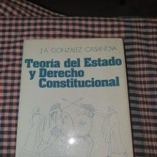 Libros de segunda mano: TEORIA DEL ESTADO Y DERECHO CONSTITUCIONAL, J.A. GONZALEZ CASANOVA, EDITORIAL VICENS VIVES, 1ª EDICI. Lote 191418411