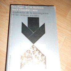 Libros de segunda mano: TENDENCIAS DE LA INVESTIGACION EN LAS CIENCIAS SOCIALES - PIAGET / MACKENZIE / LAZARSFELD - ALIANZA. Lote 192087545