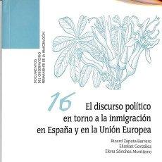 Libros de segunda mano: EL DISCURSO POLÍTICO EN TORNO A LA INMIGRACIÓN EN ESPAÑA Y EN LA UNIÓN EUROPEA - RICARD / GONZÁLEZ Z. Lote 194484803