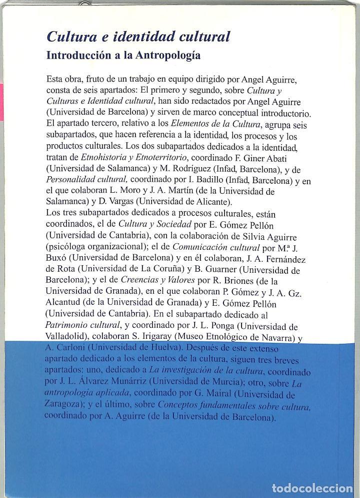 Libros de segunda mano: Cultura E Identidad Cultural Introducción A La Antropología - Angel Aguirre - Ediciones Bardenas - Foto 2 - 194857725