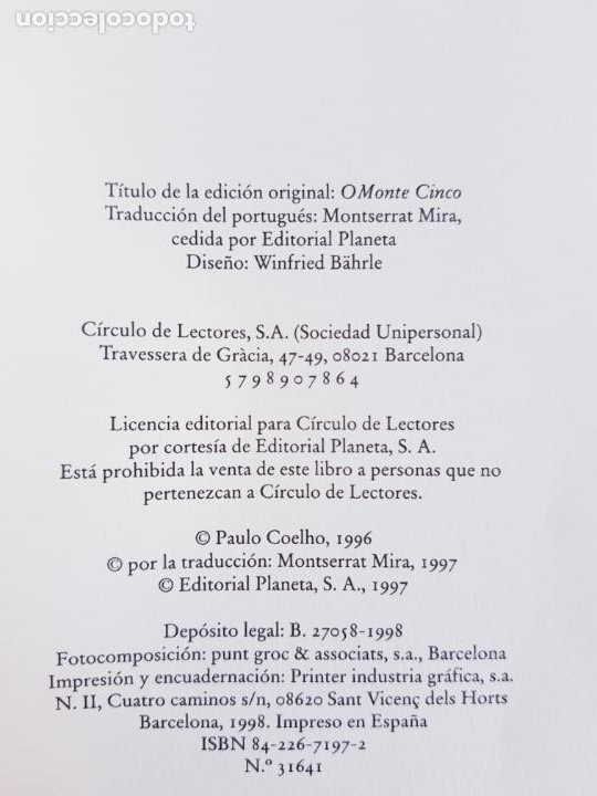 Libros de segunda mano: LIBRO-PAULO COELHO-LA QUINTA MONTAÑA-CÍRCULO DE LECTORES-1998-BARCELONA-PERFECTO ESTADO - Foto 10 - 211826933