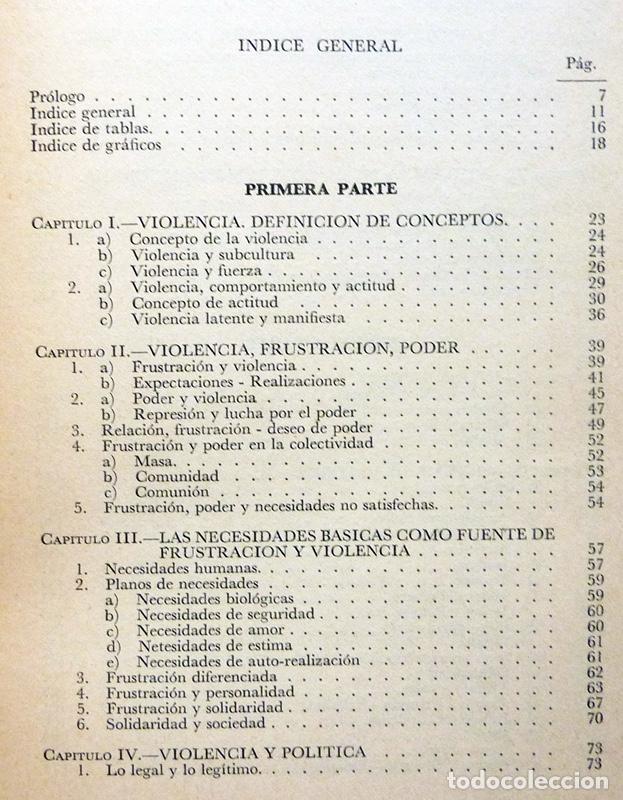 Libros de segunda mano: SOCIOLOGÍA Y VIOLENCIA - EDUARDO BASELGA, SOLEDAD URQUIJO - MENSAJERO - 1974-CASI NUEVO - VER INDICE - Foto 4 - 214826913