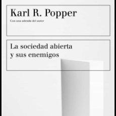Libros de segunda mano: LA SOCIEDAD ABIERTA Y SUS ENEMIGOS KARL R. POPPER. LIBRO NUEVO SOCIOLOGÍA. Lote 215772661