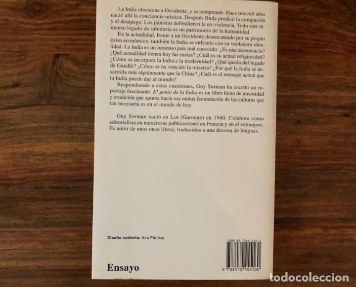 Libros de segunda mano: El genio de la India. Guy Sorman. Kairós - Foto 2 - 216376431