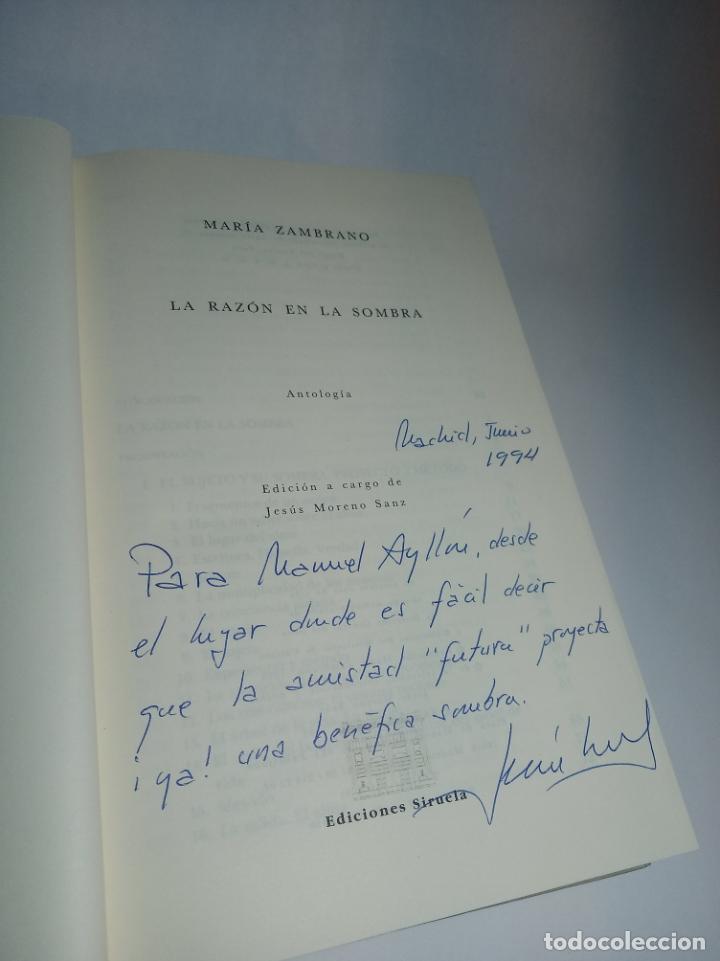 Libros de segunda mano: La razón en la sombra. Antología del pensamiento de María Zambrano. Siruela. Firmado. 1993 - Foto 2 - 218097173