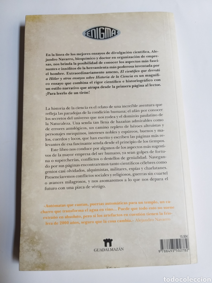Libros de segunda mano: El científico que derrotó a Hitler y otros ensayos sobre la historia de la ciencia .Alejandro Navar - Foto 5 - 218192096