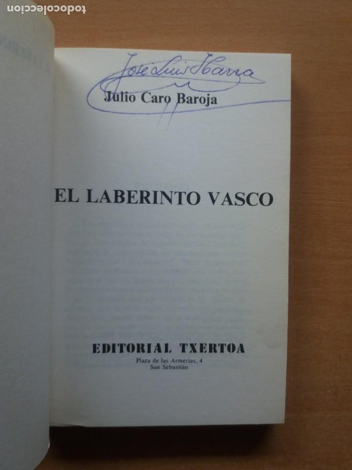 Libros de segunda mano: EL LABERINTO VASCO. JULIO CARO BAROJA. EDITORIAL TXERTOA. ESTUDIOS VASCOS. TOMO XII - Foto 2 - 218167916