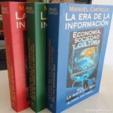 Libros de segunda mano: LA ERA DE LA INFORMACIÓN 3 TOMOS (COMPLETO) - CASTELLS, MANUEL. Lote 235873400
