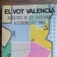 Libros de segunda mano: EL VOT VALENCIÁ RESULTATS DE LES ELECCIONS AUTONÒMIQUES 1983. PUBLICACIONS DE GENERALITAT VALENCIANA. Lote 222126345