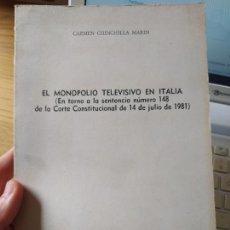 Libros de segunda mano: EL MONOPOLIO TELEVISIVO EN ITALIA, CARMEN CHINCHILLA, UNED, MADRID, 1983. Lote 245556210