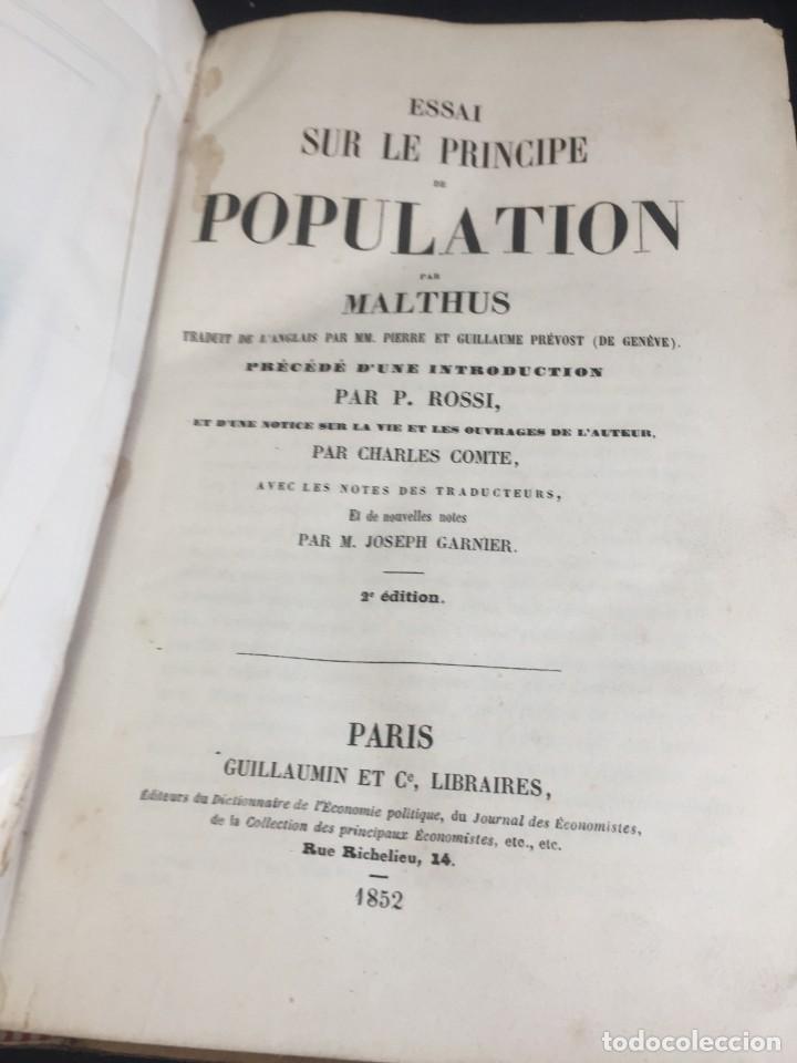 ESSAI SUR LE PRINCIPE DE POPULATION. MALTHUS THOMAS ROBERT. 1852 PLENA PIEL. EN FRANCÉS. (Libros de Segunda Mano - Pensamiento - Sociología)