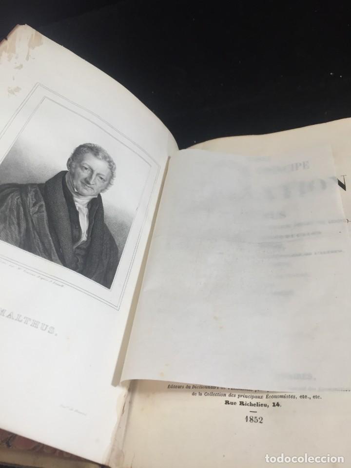 Libros de segunda mano: Essai sur le principe de population. Malthus Thomas Robert. 1852 plena piel. en francés. - Foto 2 - 247105715