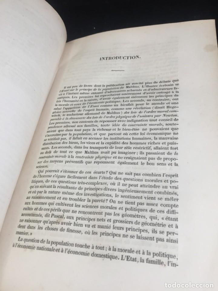 Libros de segunda mano: Essai sur le principe de population. Malthus Thomas Robert. 1852 plena piel. en francés. - Foto 9 - 247105715