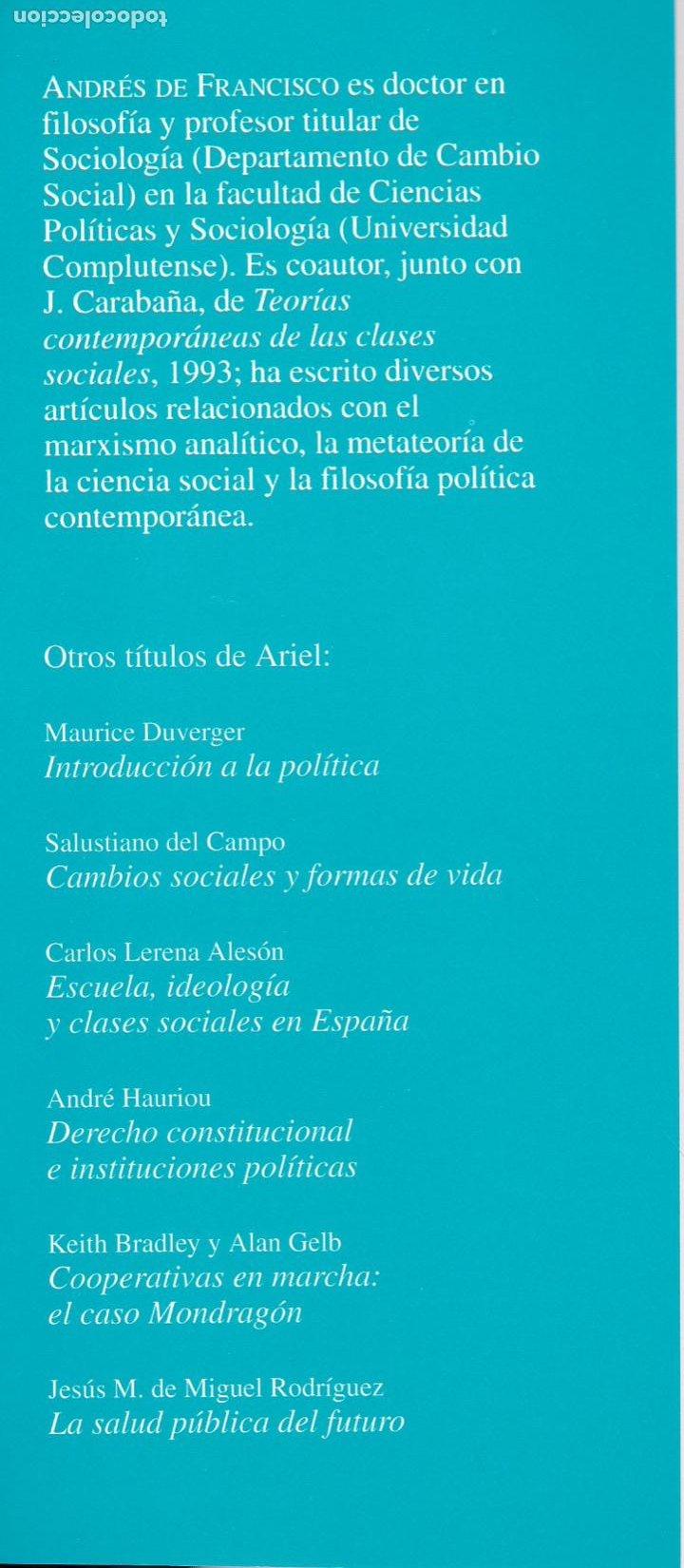 Libros de segunda mano: Sociología y cambio social / Andrés de Francisco - Foto 3 - 262627535