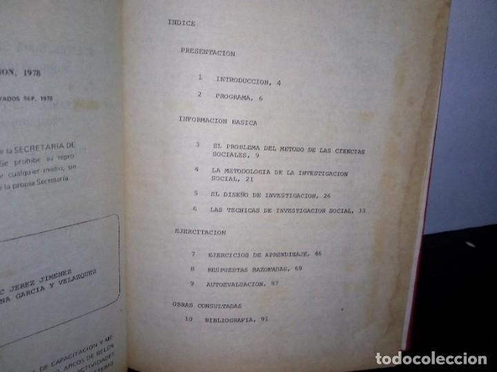 Libros de segunda mano: 1- Metodología de la investigación social - SEP 70s - Foto 5 - 262669175
