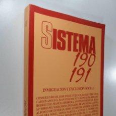 Libros de segunda mano: SISTEMA 190 191 INMIGRACIONY EXCLUSION SOCIAL. Lote 268257084