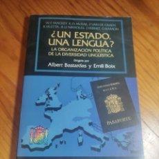 Libros de segunda mano: ¿UN ESTADO, UNA LENGUA? . LA ORGANIZACIÓN POLÍTICA DE LA DIVERSIDAD LINGÜÍSTICA - ALBERT BASTARDAS. Lote 287806663