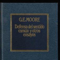 Libros de segunda mano: DEFENSA DEL SANTIDO COMÚN Y OTROS ENSAYOS, POR G.E.MOORE, EDIT. AÑO 1983. Lote 287828123