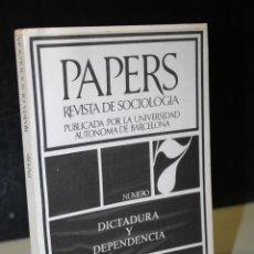 Libros de segunda mano: PAPERS. TRABAJOS DE SOCIOLOGÍA. PUBLICADOS POR LA UNIVERSIDAD AUTÓNOMA DE BARCELONA. NÚMERO 7.. Lote 289340338