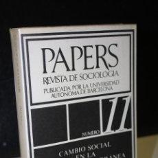 Libros de segunda mano: PAPERS. TRABAJOS DE SOCIOLOGÍA. PUBLICADOS POR LA UNIVERSIDAD AUTÓNOMA DE BARCELONA. NÚMERO 11.. Lote 289344813