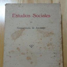 Libros de segunda mano: ESTUDIOS SOCIALES - GUMERSINDO DE AZCÁRATE. MADRID 1933. Lote 296689578