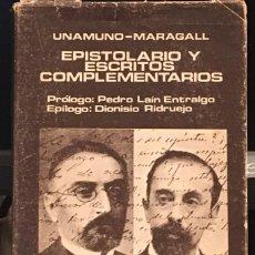 Libros de segunda mano: UNAMUNO_MARAGALL. EPISTOLARIO Y ESCRITOS COMPLEMENTARIOS. Lote 297155138