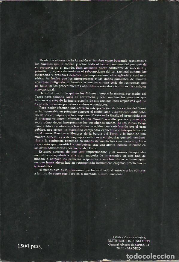 Libros de segunda mano: Dr. Klaus Bergman-El poder del tarot.Como utilizar y entender el Tarot.1989. - Foto 2 - 217812278