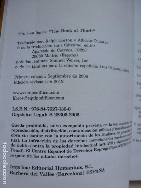 Libros de segunda mano: EL LIBRO DE THOTH. TAROT EGIPCIO. ALEISTER CROWLEY. LUIS CÁRCAMO EDITOR 2006 - Foto 4 - 246072195