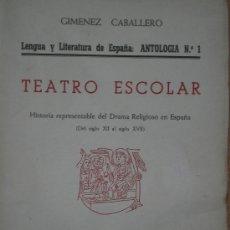 Libros de segunda mano: TEATRO ESCOLAR. . Lote 25637585